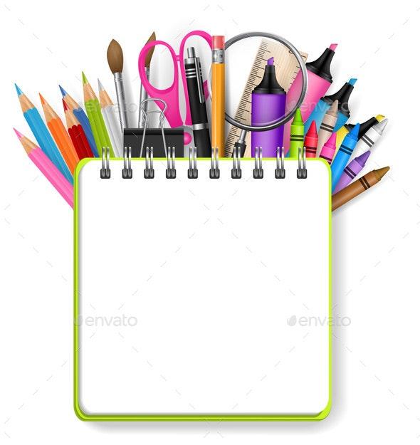 School Supplies Design Background - Miscellaneous Vectors