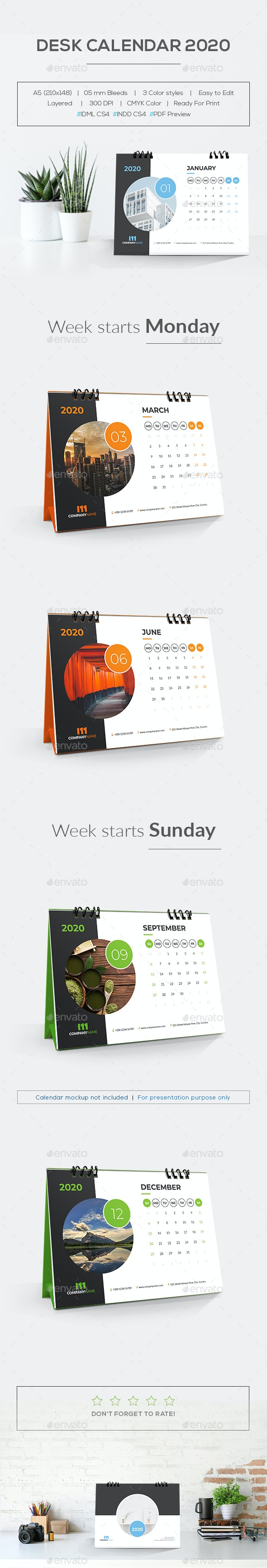 Desk Calendar 2020 - Calendars Stationery