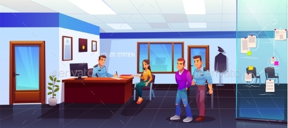 Arrest of Criminal in Police Station - People Characters