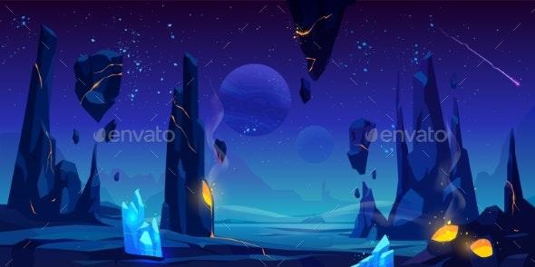 Space Background Night Alien Fantasy Landscape - Landscapes Nature