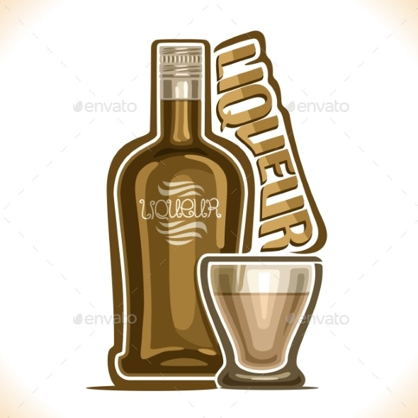 Vector Illustration of Alcohol Drink Liqueur - Food Objects