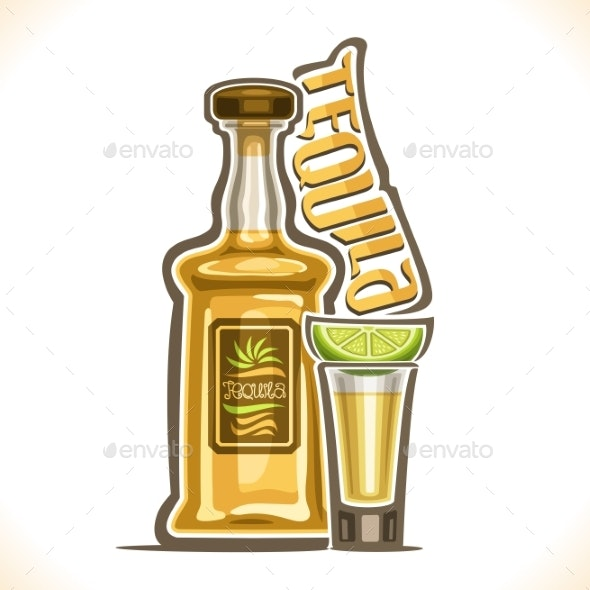 Vector Illustration of Alcohol Drink Tequila - Food Objects