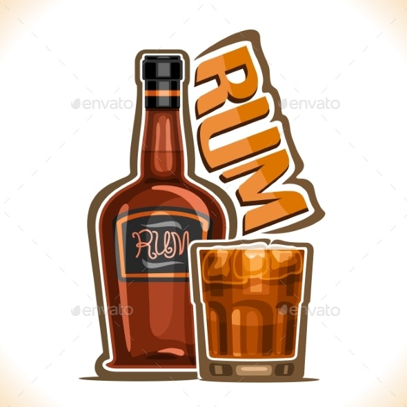 Vector Illustration of Alcohol Drink Rum - Food Objects