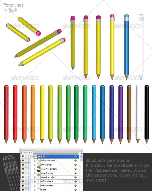 Pencil set - Man-made Objects Objects