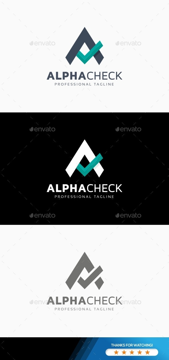 Alpha Check - A Letter Logo - Letters Logo Templates