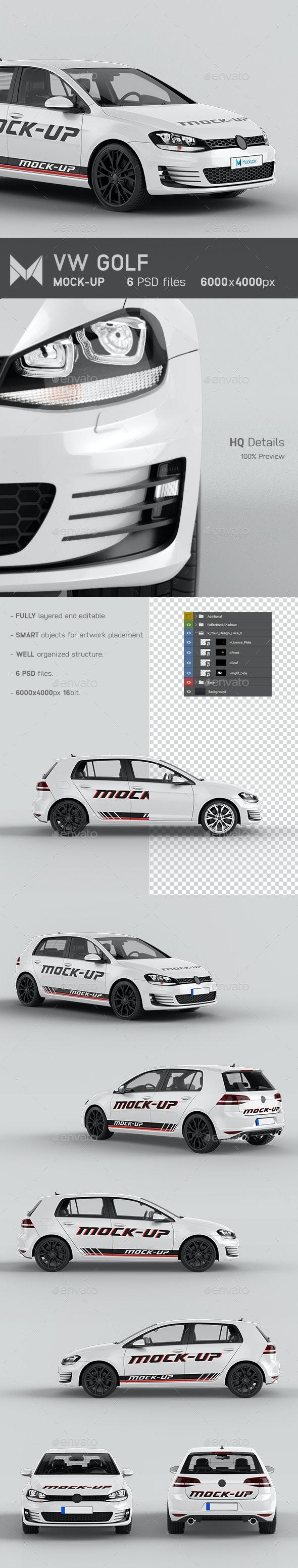 VW Golf Car Mockup - Vehicle Wraps Print