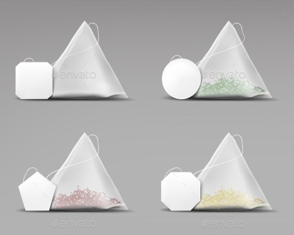 Tea Pyramid Bagsset Isolated on Grey Background - Food Objects