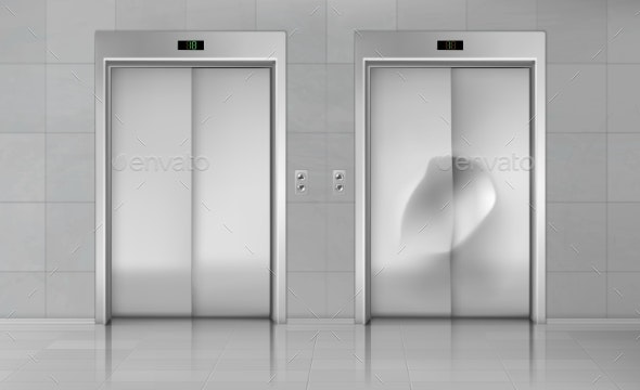 Elevator Doors Close Lift New and Damaged Cabin - Buildings Objects