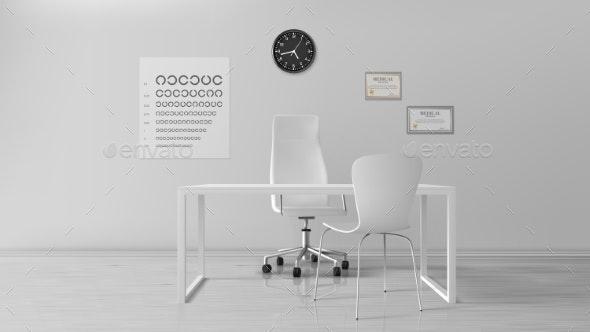 Oculist Office Empty Optometrist Cabinet Interior - Buildings Objects