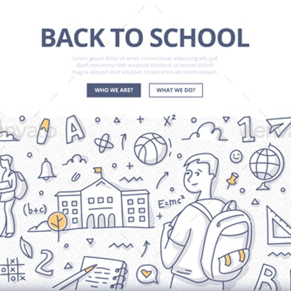 Back to School Doodle Banner Concept