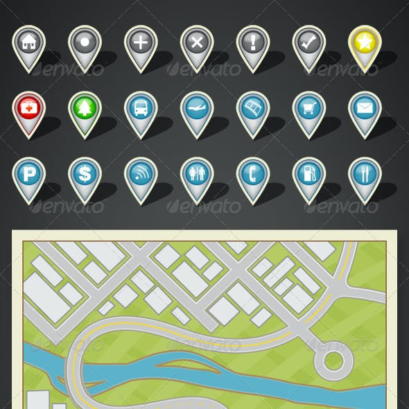GPS Map and Location Icon Kit