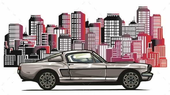 Old Racing Car with Grunge City Background - Sports/Activity Conceptual
