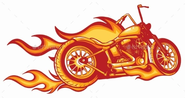 Vector Illustration Flaming Bike Chopper Ride - Man-made Objects Objects