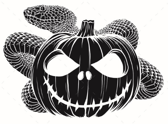 Halloween Pumpkin Cartoon Images.Halloween Pumpkin With Snake Vector Cartoon