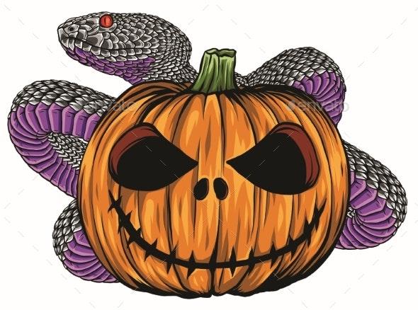 Halloween Pumpkin with Snake Vector Cartoon - Halloween Seasons/Holidays