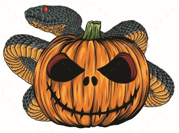 Halloween Pumpkin Vector.Scary Halloween Icons Snake Pumpkins Vector
