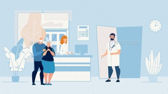 Banner Sick Elderly Couple in Doctors Office - Health/Medicine Conceptual