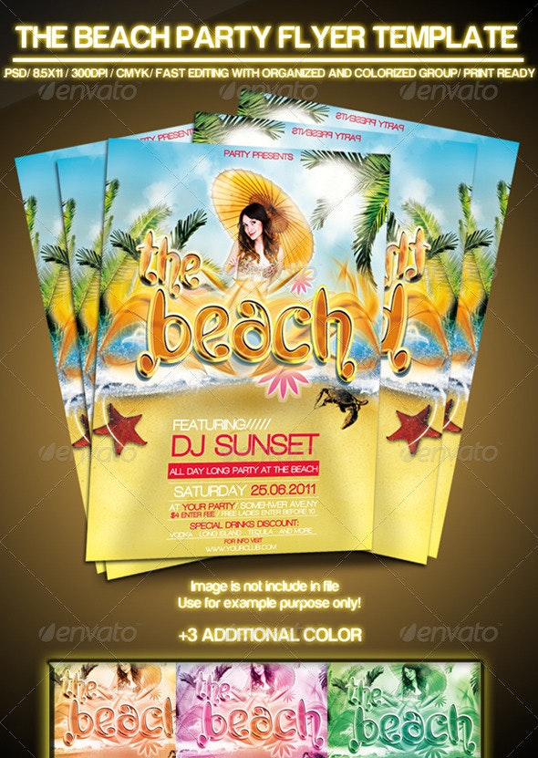 The Beach Summer Party Flyer  - Clubs & Parties Events