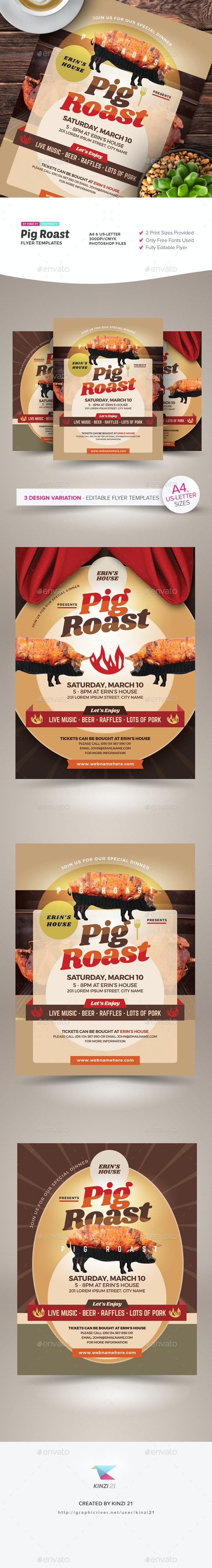 Pig Roast Flyer Templates - Miscellaneous Events