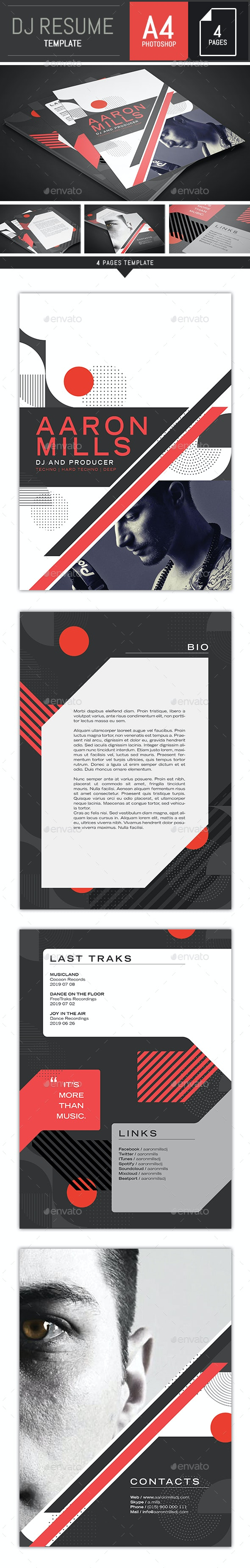 Dj / Musician Japan Style Press Kit / Resume A4 Template - Resumes Stationery