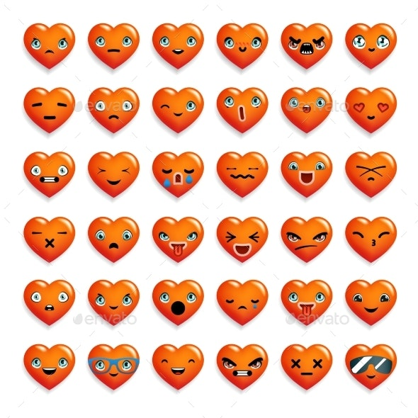 Heart Chat Emoticon Smiley Emoji Icons Set - Miscellaneous Characters