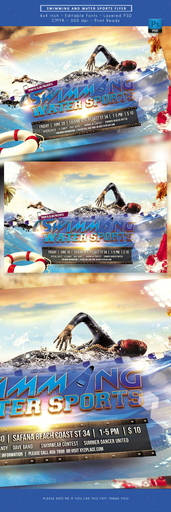 Swimming Water Sport Event Flyer - Sports Events