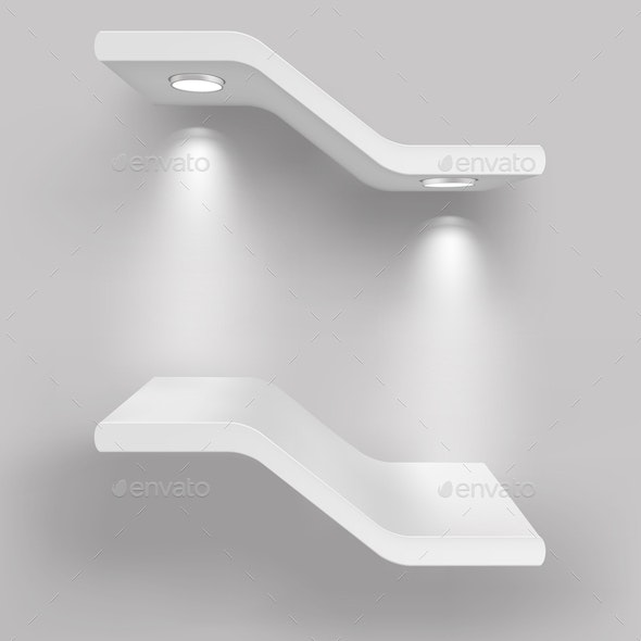Exhibition Shelves with Light Sources - Man-made Objects Objects