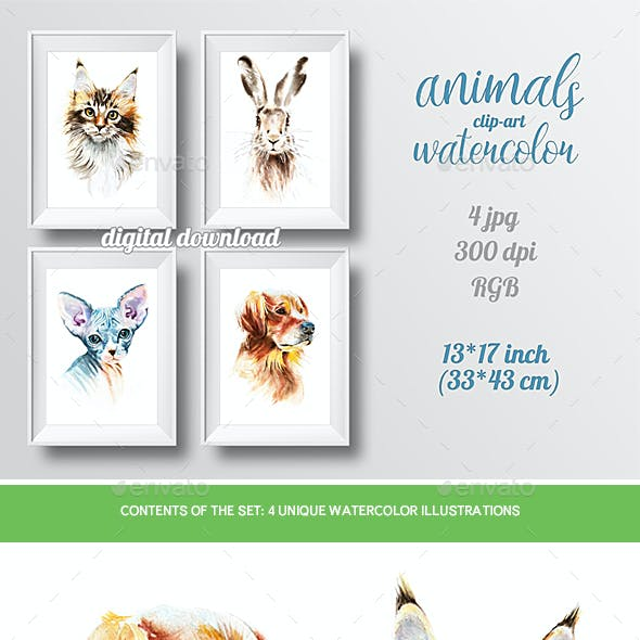 Watercolor Animals Isolated