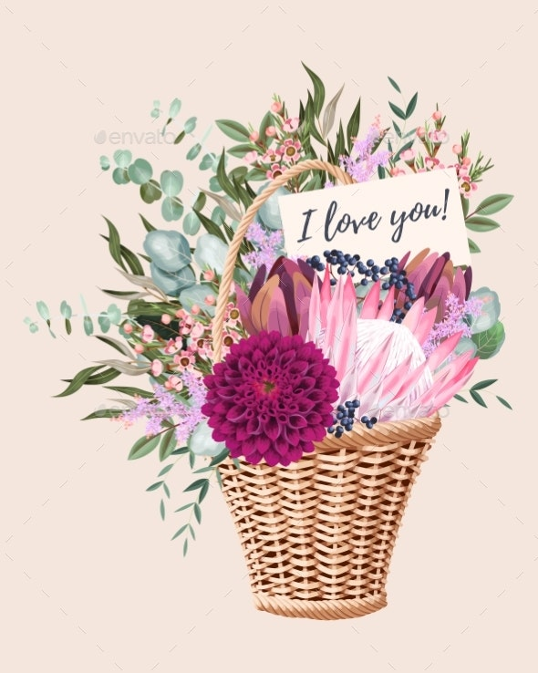 Vector Card with Wedding Bouquet in Basket - Flowers & Plants Nature