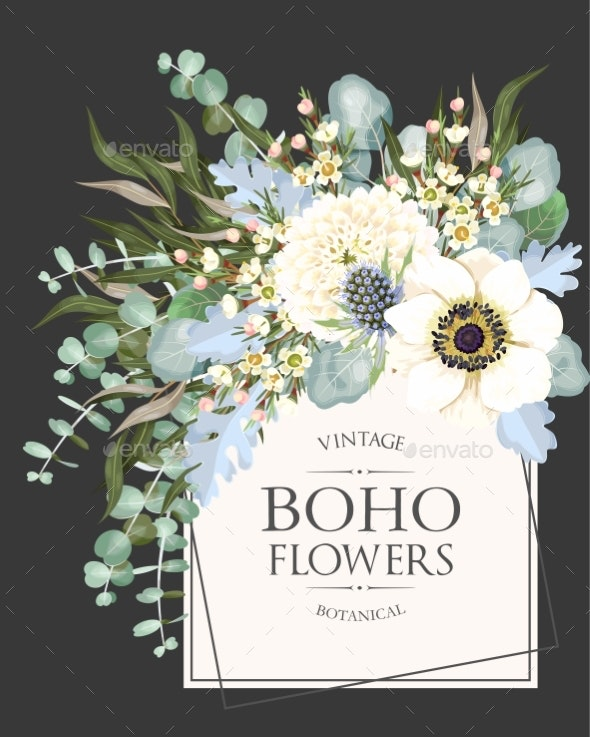 Vintage Wedding Card with Flowers and Greenery - Miscellaneous Vectors