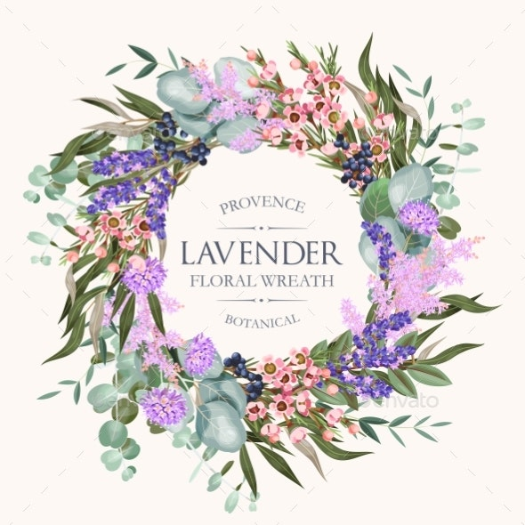 Vector Card with High Detailed Lavender Wreath - Flowers & Plants Nature