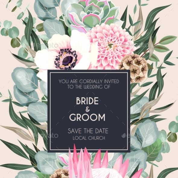 Vintage Wedding Card with Flowers and Greenery