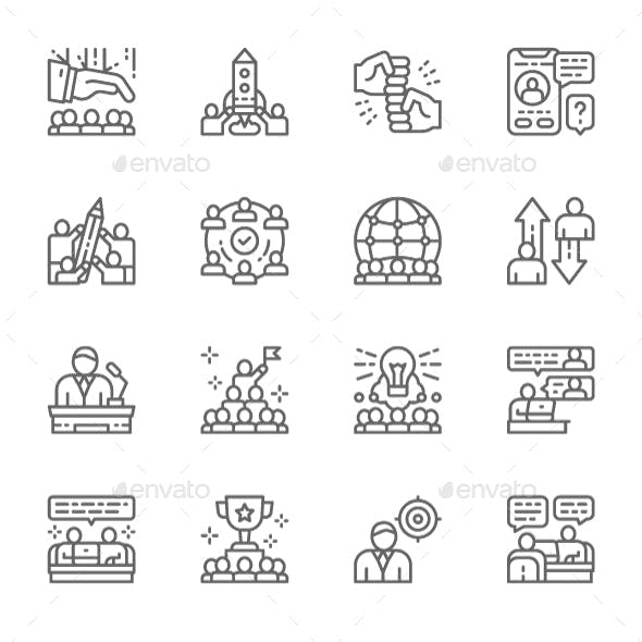 Set Of Teamwork Line Icons. Pack Of 64x64 Pixel Icons
