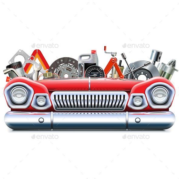 Vector Car Parts with Automotive Front End