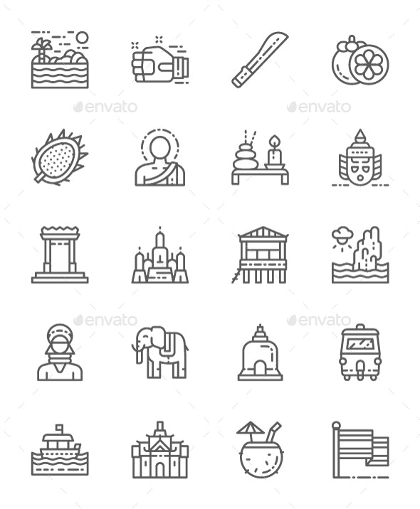 Set Of Thailand Culture Line Icons. Pack Of 64x64 Pixel Icons - Objects Icons
