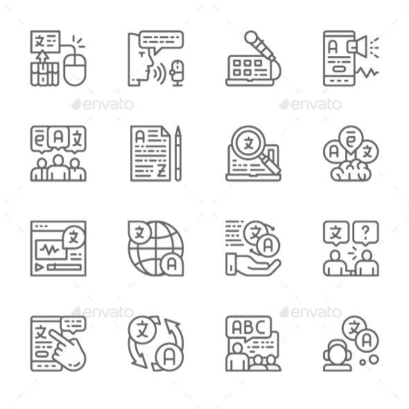 Set Of Language Translation Line Icons. Pack Of 64x64 Pixel Icons