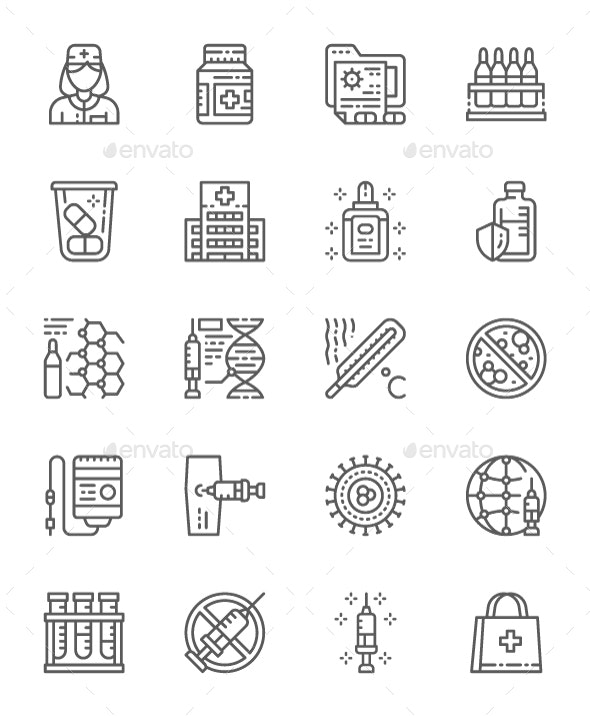 Set Of Vaccination Line Icons. Pack Of 64x64 Pixel Icons - Abstract Icons