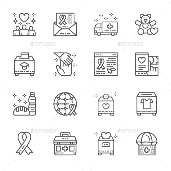 Set Of Charity And Donation Line Icons. Pack Of 64x64 Pixel Icons