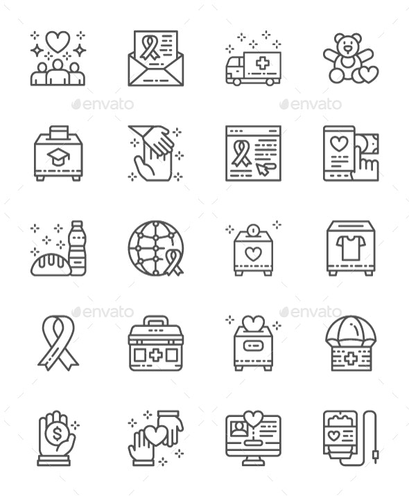 Set Of Charity And Donation Line Icons. Pack Of 64x64 Pixel Icons - Abstract Icons
