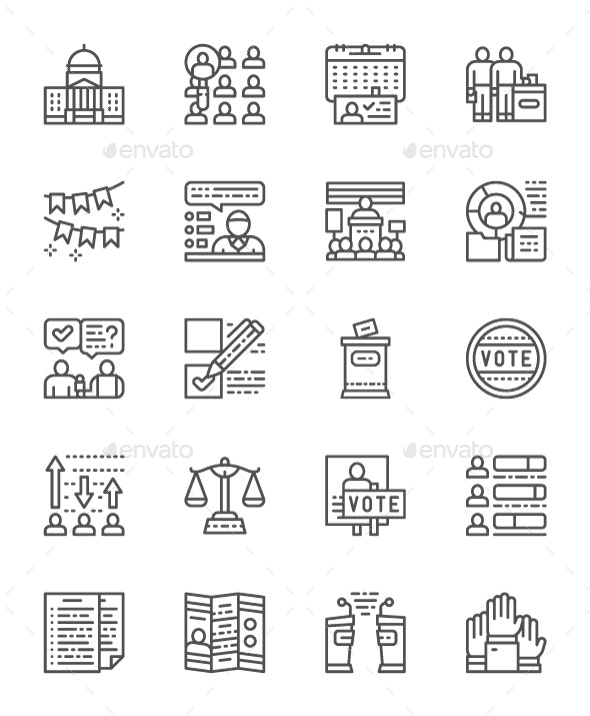 Set Of Voting And Elections Line Icons. Pack Of 64x64 Pixel Icons