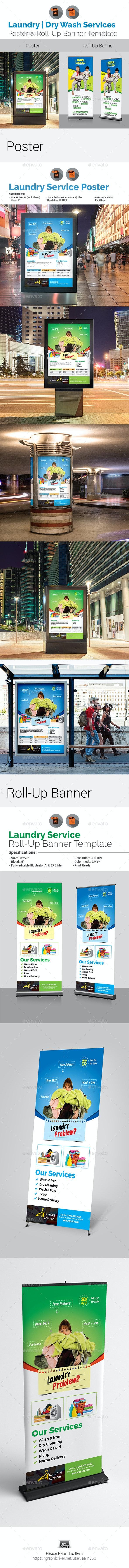 Laundry Services Signage Bundle - Signage Print Templates