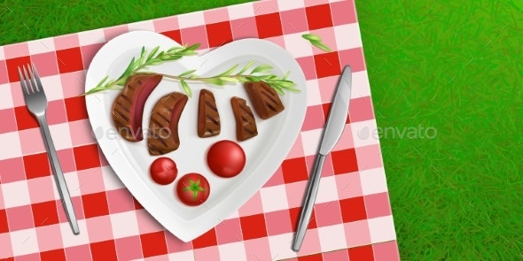 Top View Plate in Shape of Heart with Fried Meat - Food Objects