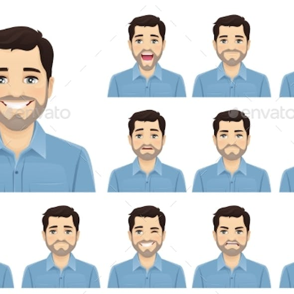 Handsome Bearded Man Expression Set