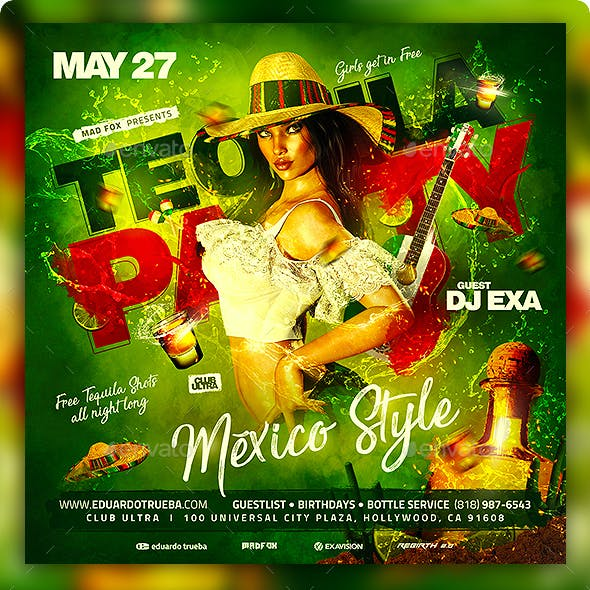 Tequila Party Mexico Style Flyer