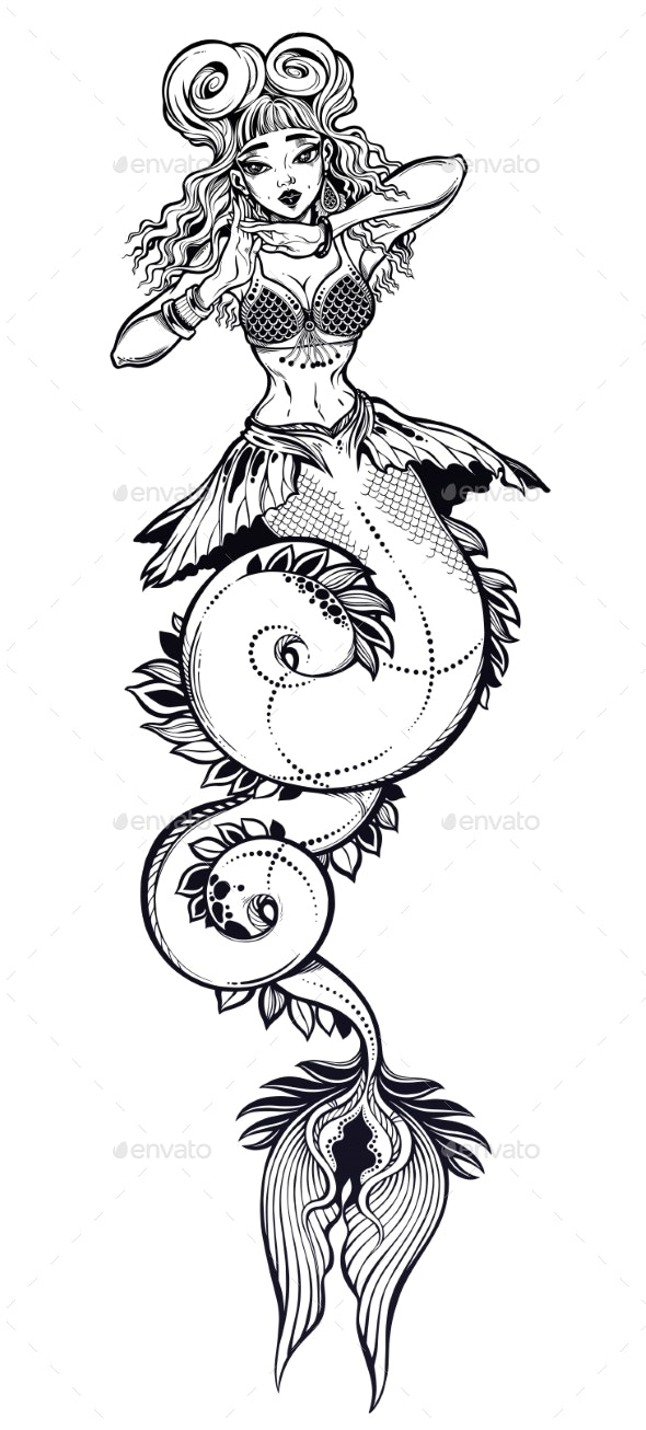 Mermaid Girl with Long Fish Tail - Monsters Characters