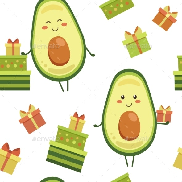 Vector Seamless Pattern with Smiling Avocado - Patterns Backgrounds