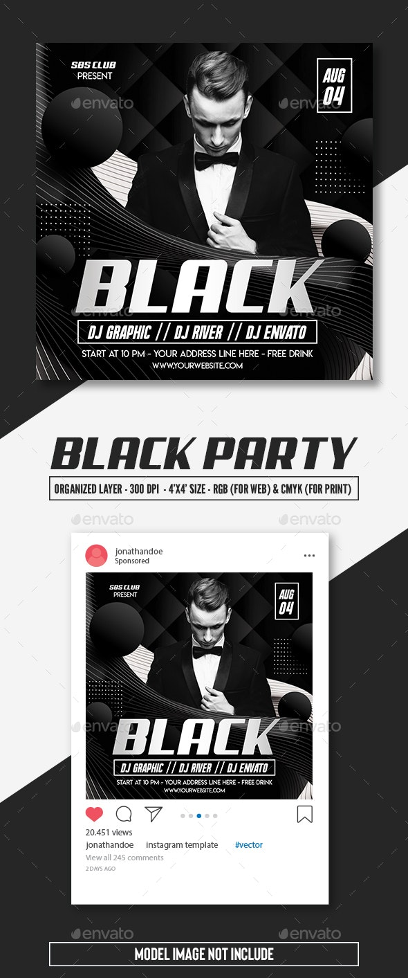 Black Party Flyer Template - Clubs & Parties Events