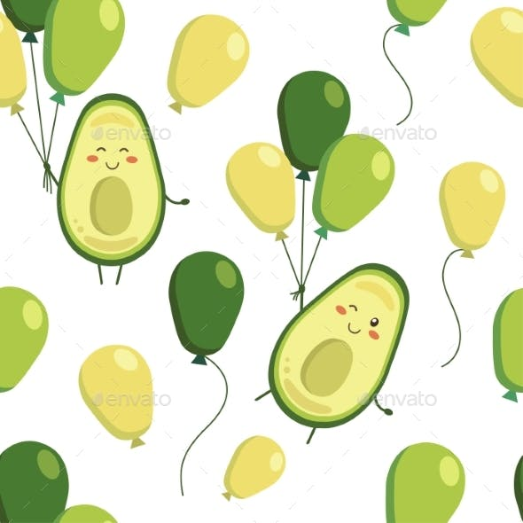Vector Seamless Pattern with Smiling Avocado