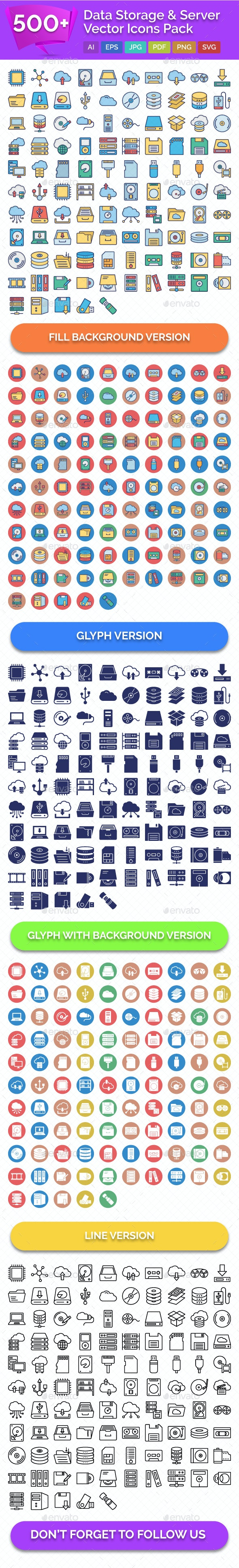 500+ Data Storage & Server Vector Icons Pack - Icons