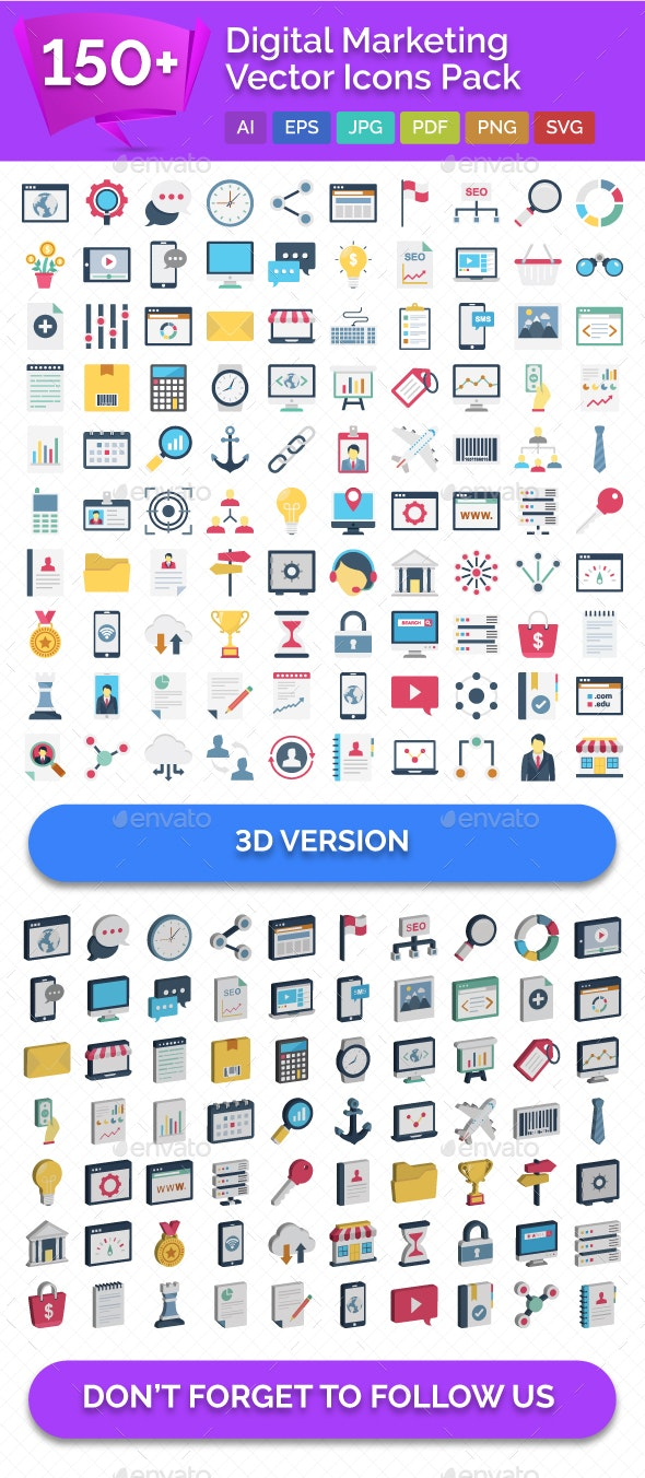 150+ Digital Marketing Vector Icons Pack - Icons